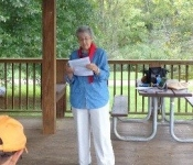 Joan Worley speaks to the group