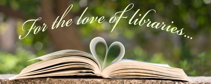 For the love of libraries... open book with heart